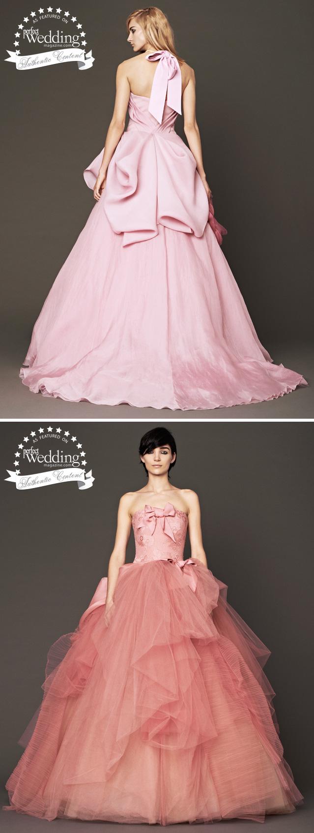 Vera Wang, Fall 2014 Bridal, New York Bridal Week, Perfect Wedding magazine, Fashion, Pink gowns
