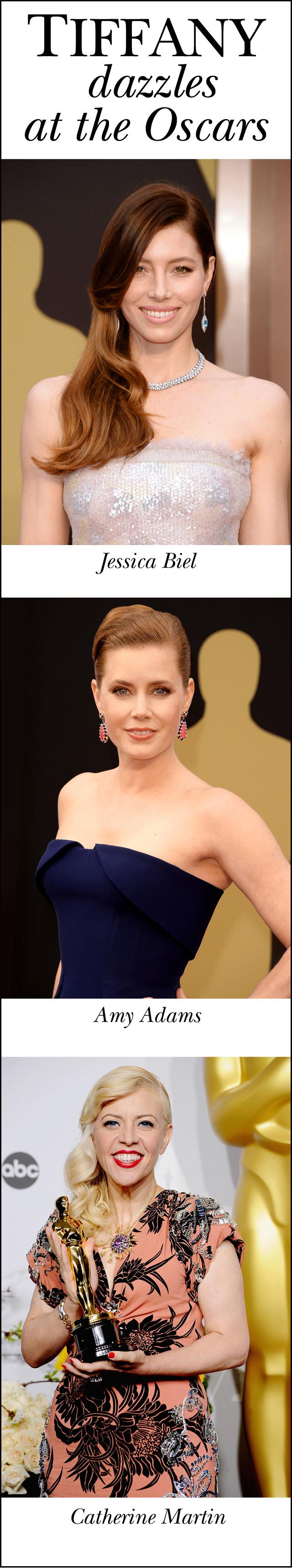 Tiffany & Co., Oscars Awards, Jewellery, Perfect Wedding Magazine, Jessica Biel, Amy Adams, Catherine Martin