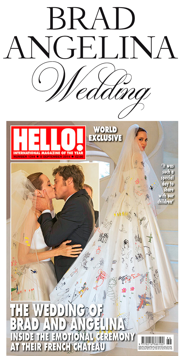 Angelina Jolie, Brad Pitt, Secret Wedding, Angelina Jolie Versace Wedding Gown, Angelina Jolie's wedding gown sketch, Perfect Wedding Magazine, Wedding Blog, Chateau Miraval, France