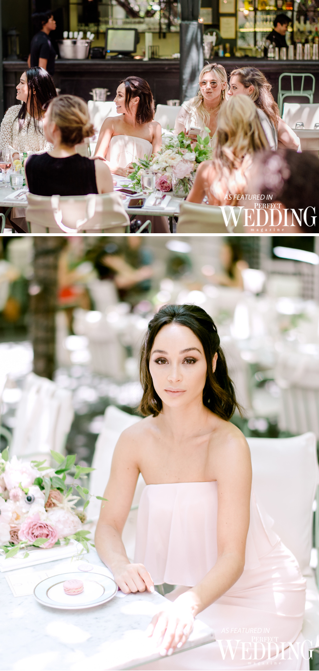 The Glam App, Ladurée SoHo, Perfect Wedding Magazine, Monique Lhuillier, MoniqueLhuillierXVowtobeChic, Vow to be Chic, Cara Santana, Bridesmaieds, Cara dress,