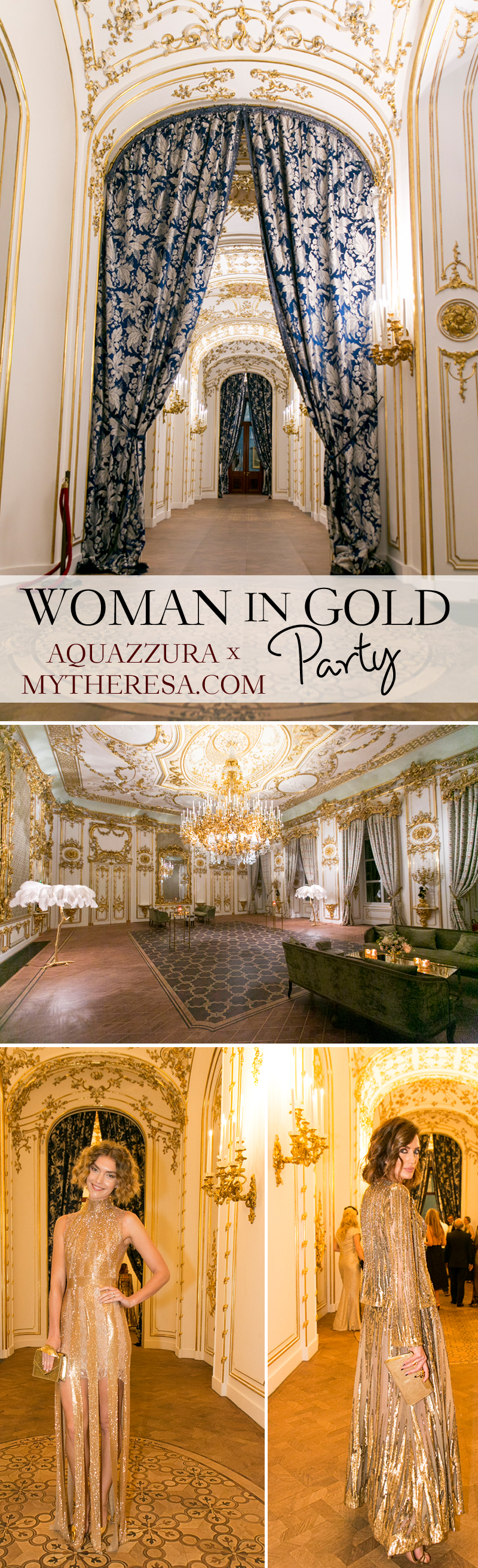 Aquazzura, Liechtenstein Palace, Vienna Palace, Vienna, Gold Party Decor, Wedding Decor in Gold, Aquazzura Woman in Gold Party, MyTheresa.com, Perfect Wedding Magazine, Gold Wedding Decor, Perfect Wedding Blog