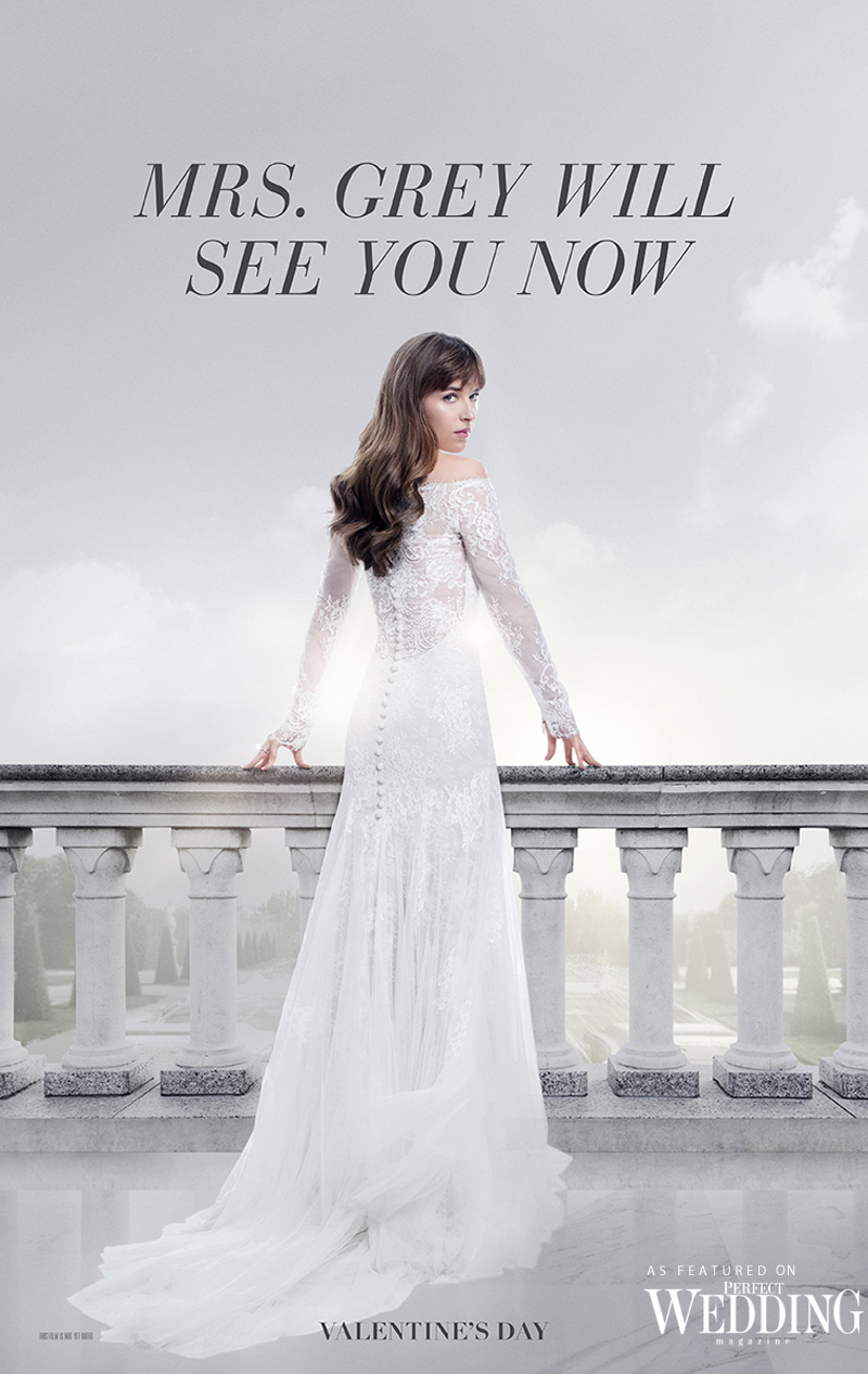 Perfect Wedding Blog, Bridal Fashion, Wedding Gown, Fifty Shades Movie, Fifty Shades Freed, Monique Lhuillier designs Anastaia Steel's wedding gown, Monique Lhuillier, Monique Lhuillier Bridal, Perfect Wedding Magazine, Dakota Johnson,